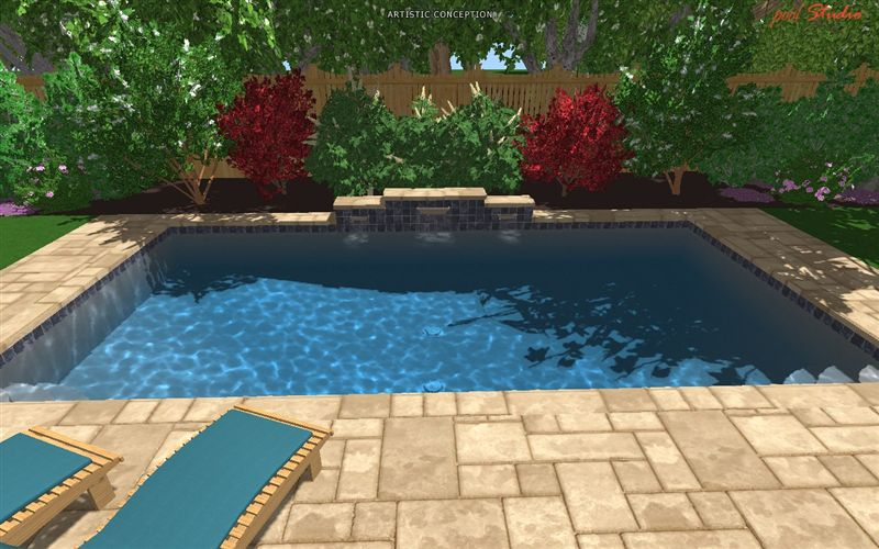 elliot_003 - Rectangle Pool With Water Feature